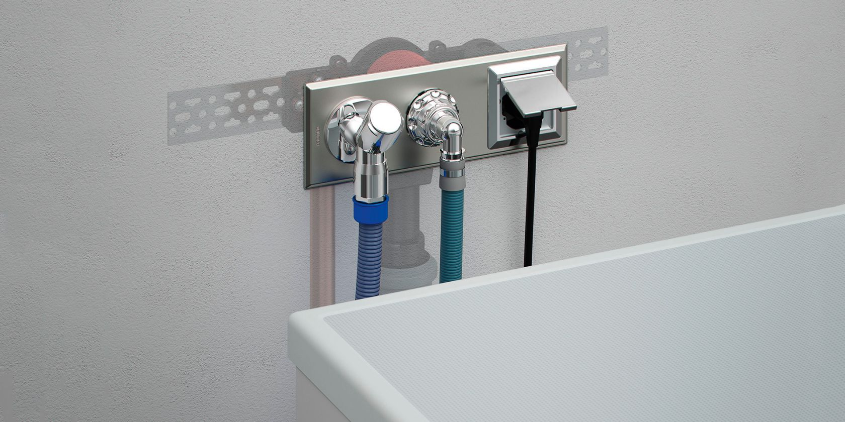 Concealed traps for washing appliances