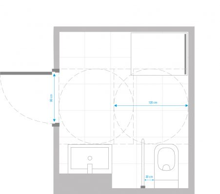 Sample layout of a barrier-free bathroom